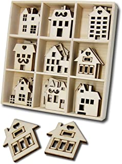 YuQi Wooden House Cutouts Craft Ornaments,Wooden House Scrapbooking Embellishments Gift Decoupage Card for Art Business(Pack of 45)