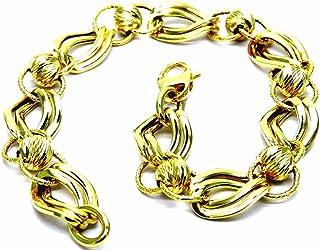 Bracciale da Donna in Oro Giallo 18kt (750) Maglia Fantasia Giglio Cm 19