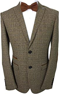 SIRRI Paul Andrew Men's Tailored Fit Brown Retro Wool Blend Tweed Blazer with Elbow Patches