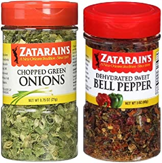 Zatarain's Cajun Creole Cooking Bundle - 1 each of Chopped Green Onions 0.75 Ounces and Dehydrated Sweet Bell Peppers 3 Ounces
