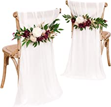 Ling's moment Set of 2 Rustic Wedding Chair Decoration for Bride Groom with Sashes, Marsala Flower Swags for Arch,Aisle Pe...