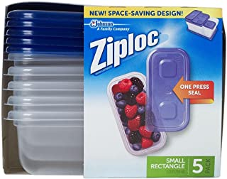 Ziploc One Press Seal Small Rectangle Container - 5 ct
