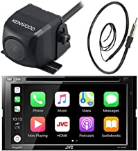 JVC 7 Inch Double Din Car CD DVD USB Bluetooth Stereo Receiver Bundle Combo with Kenwood Rearview Wide Angle View Backup Camera, Enrock 22 AM/FM Radio Antenna