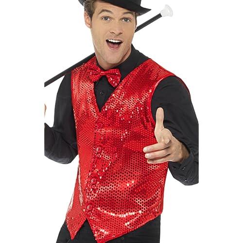4c6c22db8f7 Men Adults Fancy Dress Halloween Dance Party Vest Circus Clown Sequin  Waistcoat