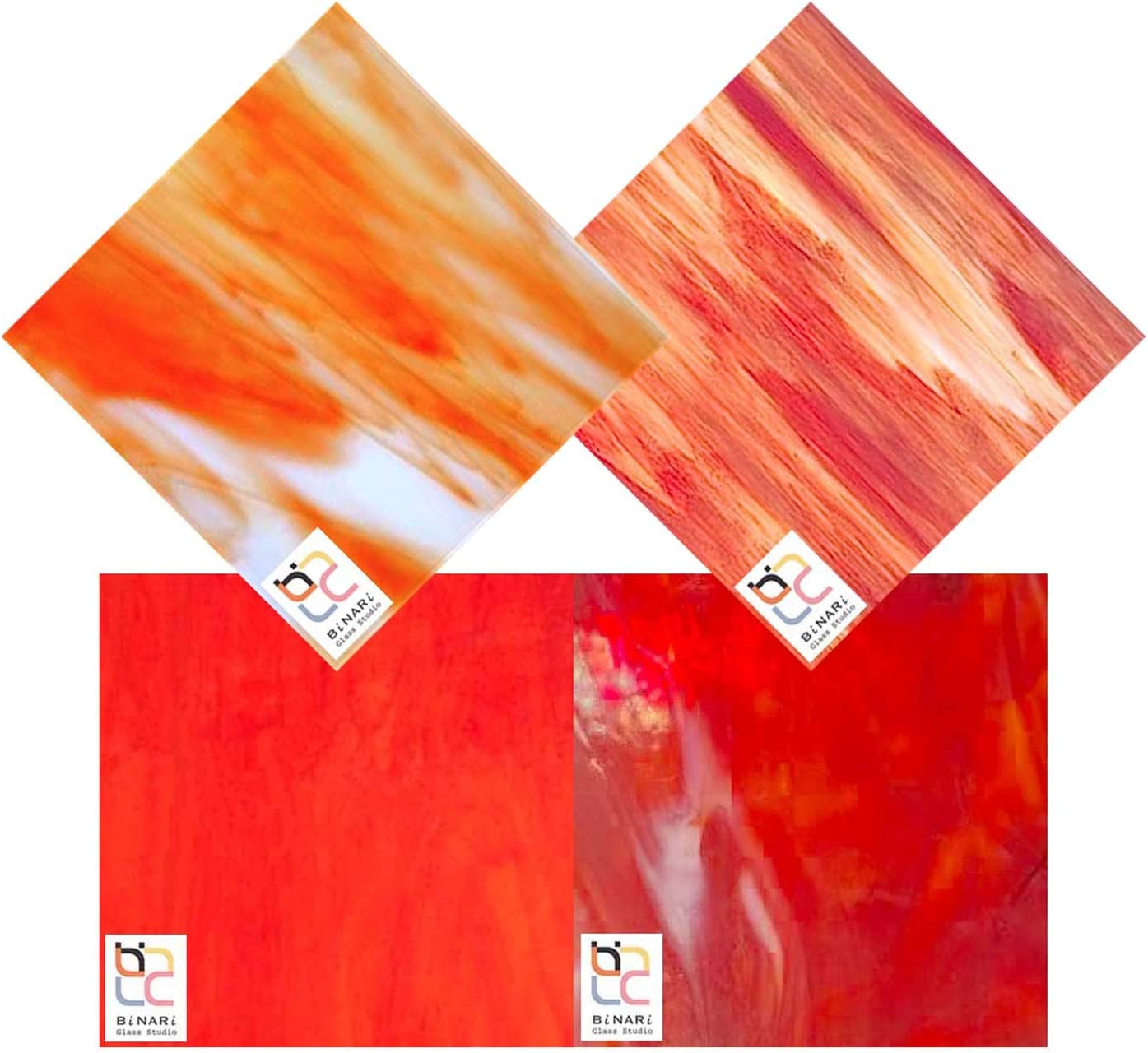 Wissmach 4 Sheet Mixed Jacksonville Mall Color Variety Choice Pack RED Ora Stained Glass