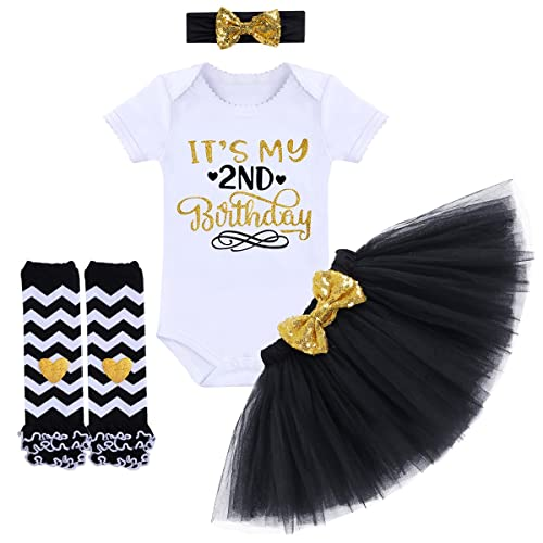 3d47c729a It's My 1st/2nd Birthday Outfit Baby Girl Romper Tutu Skirt Headband Leg  Warmers 4pcs