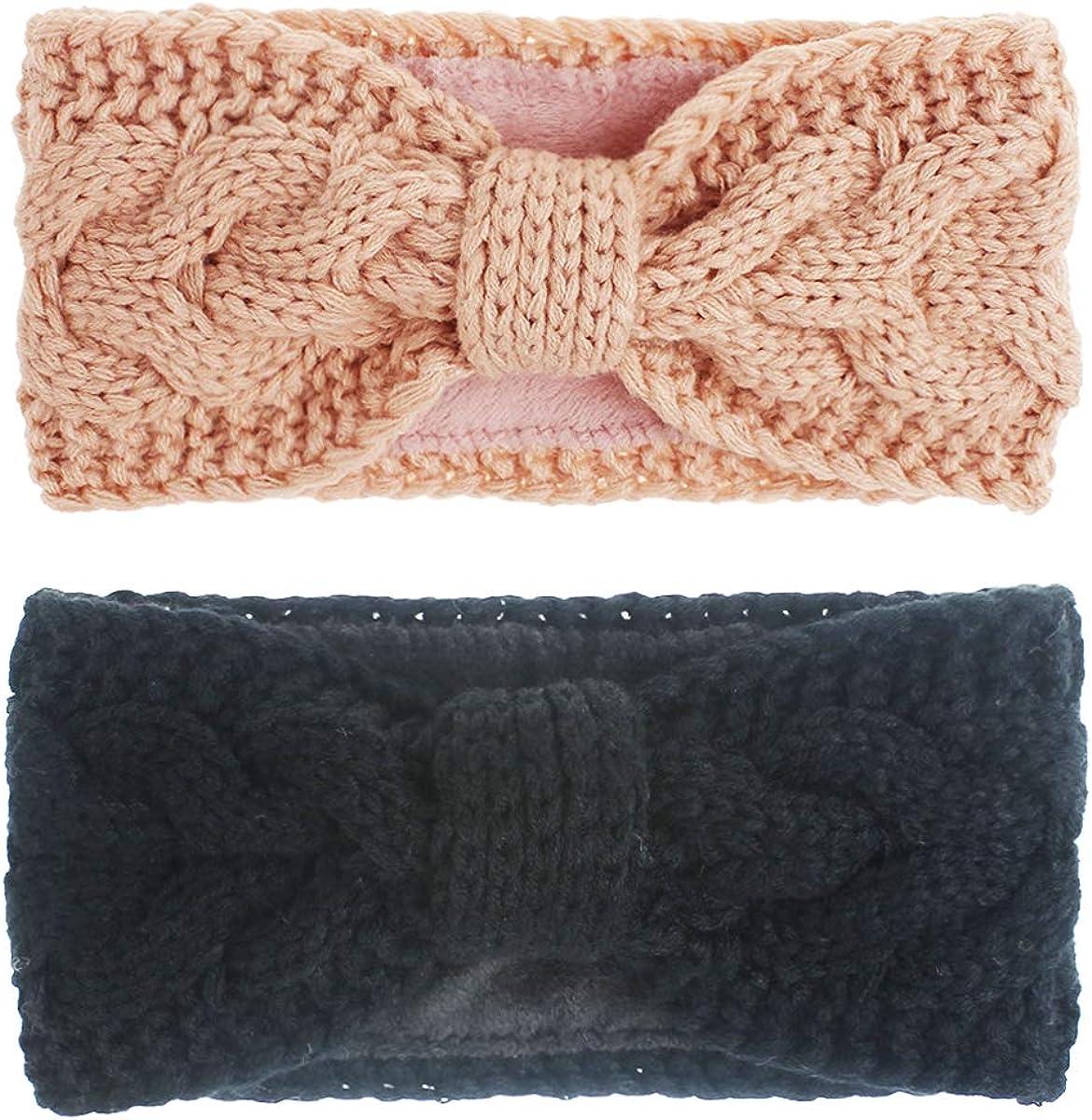 MonicaSun Women Winter Warm Headband Fuzzy Fleece Lined Thick Cable Knit Head Wrap Ear Warmer