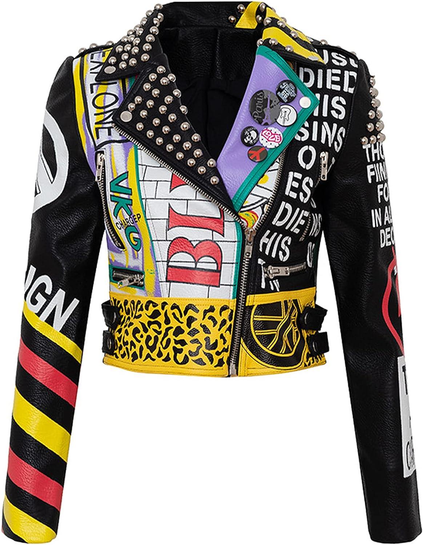 YHNY Women's Jacket Faux Leather Motorcycle Short Coat Long Sleeve Graffiti Printed Rivet Casual Clothing black-3XL