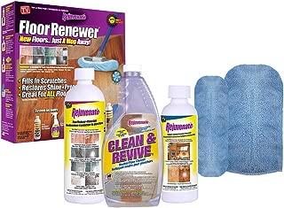 Rejuvenate Floor Renewer Kit, includes: 22 oz. Clean & Revive 16 oz. Floor Restorer, 8 oz. Cabinet and Furniture Restorer, plus 1 Microfiber Mitt Applicator and 1 Microfiber Bonnet Applicator