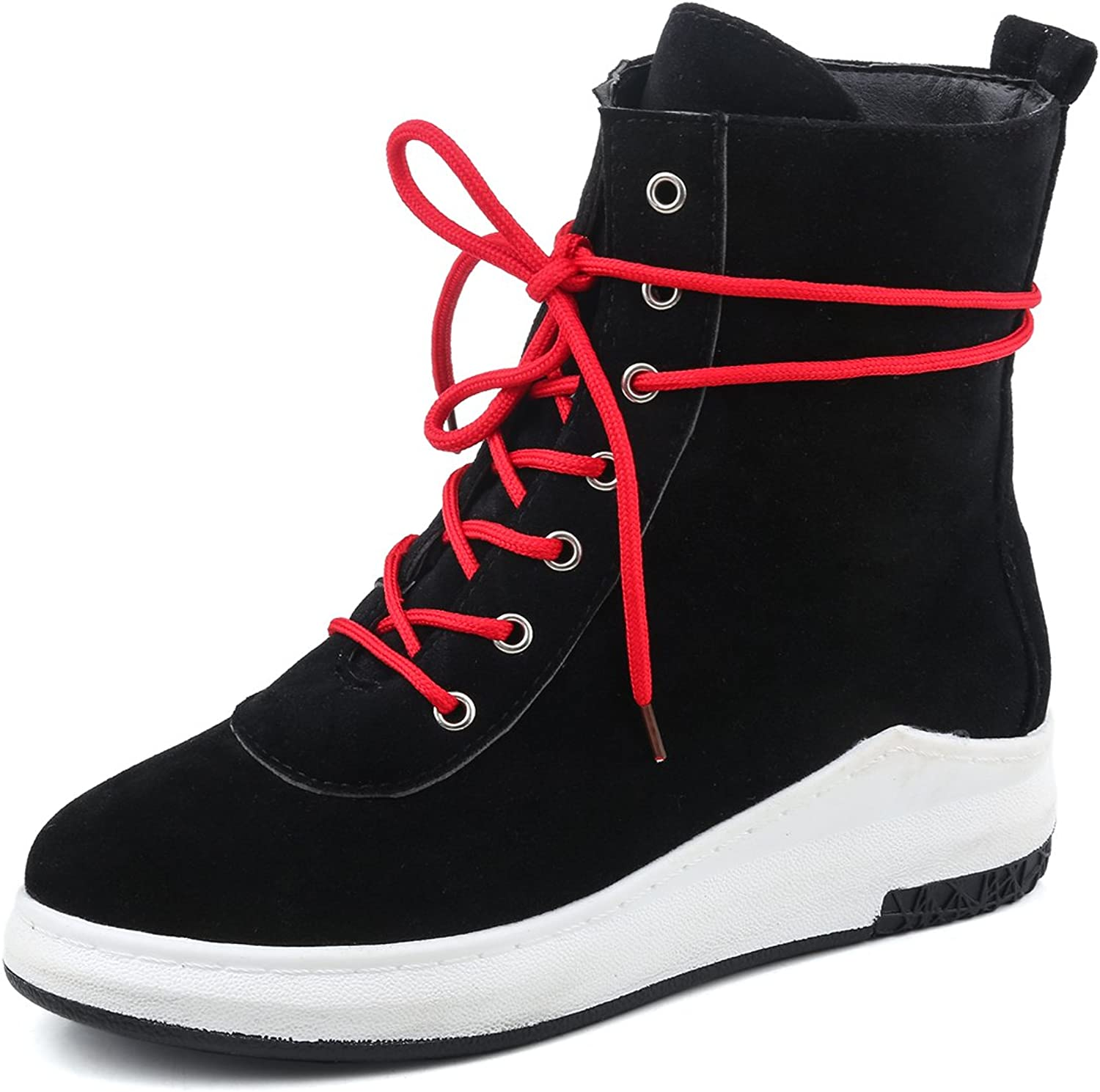 BalaMasa Womens Flatform Lace-Up Solid Round-Toe Black Suede Boots ABL09602 - 5.5 B(M) US