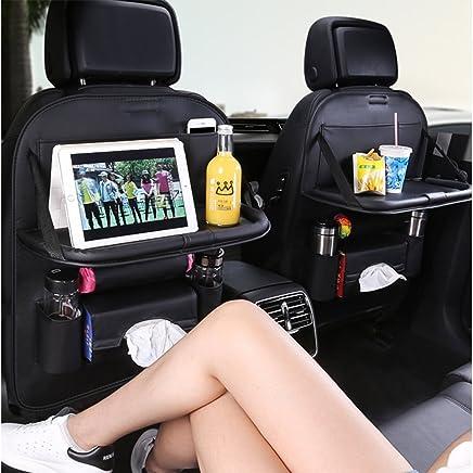 Ogland Organizador de asiento trasero de coche con charola de mesa para viajes con bebés, con mesa plegable de cuero sintético, soporte para iPad, bolsa de almacenamiento de pañuelos, bolsillos multifunción, 1 unidad