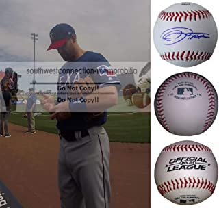 Logan Forsythe Texas Rangers Autographed Hand Signed Baseball with Exact Proof Photo of Signing and COA, Los Angeles Dodgers, Minnesota Twins, San Diego Padres, Tampa Bay Rays