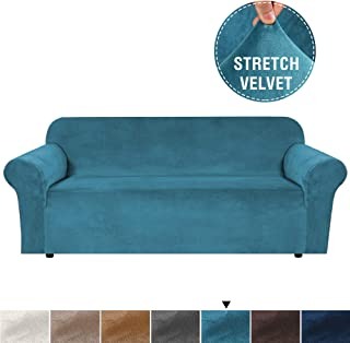 H.VERSAILTEX Super Soft Extra Large Sofa Cover Velvet Plush Stretch Sofa Slipcover Oversized Sofa Cover for Living, Form Fitted Skid Resistance Lounge Cover for 4 Seater (X-Large, Peacock Blue)