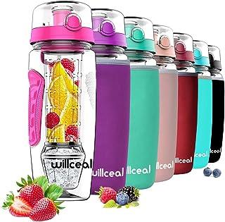 le camping sans BPA le cyclisme en Tritan 1 L anti-fuite gris, 1000 ml Willceal Bouteille deau de sport le yoga la randonn/ée la gym et plus pour le sport en plastique