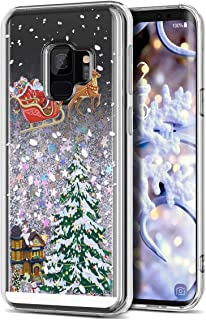 Galaxy S9 Case, CinoCase 3D Creative Liquid Case [Christmas Collection] Flowing Quicksand Moving Stars Bling Glitter Snowflake Christmas Tree Santa Claus Pattern Soft TPU Case for Samsung Galaxy S9