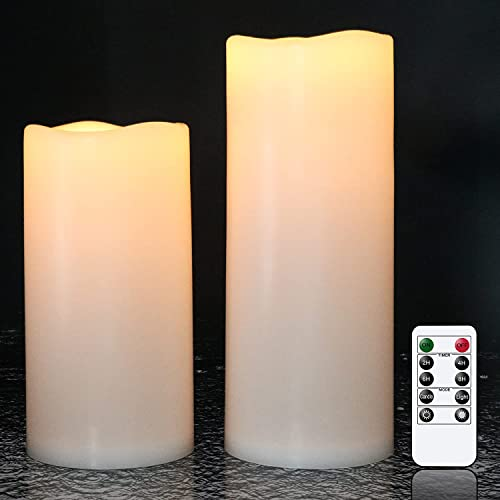 """high quality Eldnacele 2 Pack Waterproof Flameless new arrival Flickering Candles with Remote Control and Timer Battery Operated White LED Candles Indoor outlet sale Outdoor Pillar Candles for Party Wedding Festival , D4""""x H8"""" 10"""" outlet sale"""