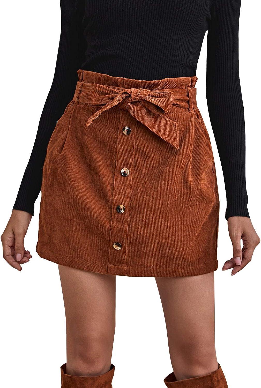 Milumia Women High Waist Short Skirt Paperbag Waist Button Front Knot Belted Corduroy Skirt