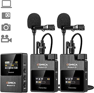 Wireless Lavalier Microphone System, Comica BoomX-D 1-Trigger-2 Wireless Microphone with Mini Lapel Mics for DSLR Camera,O...