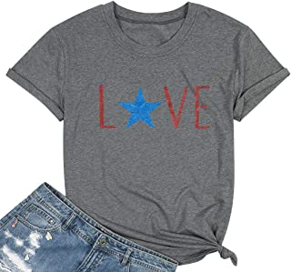 MAXIMGR Made in Merica T-Shirt Women America Flag Stars Shirt 4th July Patriotic Short Sleeve Loose Casual Graphic Tee Tops