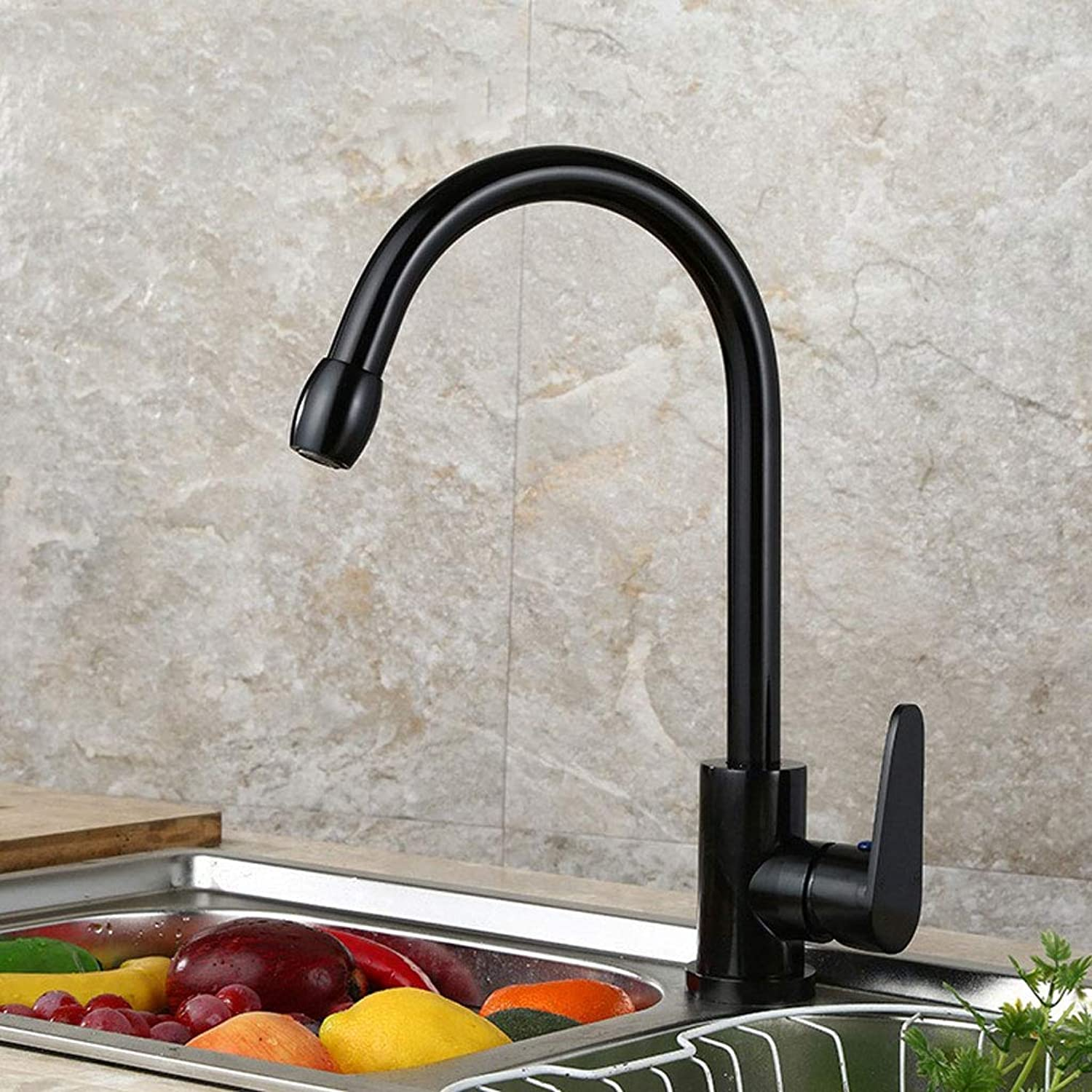 LXKY Space aluminum faucet - universal kitchen bathroom, hot and cold water tank mixer, black,B