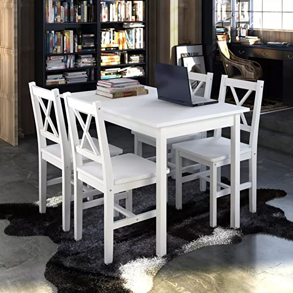 Festnight 5 Pcs Kitchen Dining Set 4 Person Dining Table With Chairs Wooden Set Home Dinette Furniture White