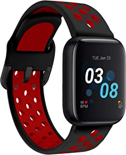 iTouch Air 3 Smartwatch for Fitness, iPhone and Android Compatible, Pedometer, Walking and Running Tracker for Women and Men (Black/Red Perf)