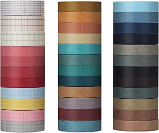 Molshine 35 Rolls(0.4inX3.3ydX24rolls,0.4inX2.2ydX8rolls,0.5inX2.2ydX3rolls) Washi Masking Tape, Sticky Paper Tape for DIY, Decorative Craft, Gift Wrapping, Scrapbook- Grid Solid Color Series