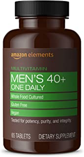 Amazon Elements Men's 40+ One Daily Multivitamin, 67% Whole Food Cultured, Vegan, 65 Tablets, 2 month supply (Packaging ma...