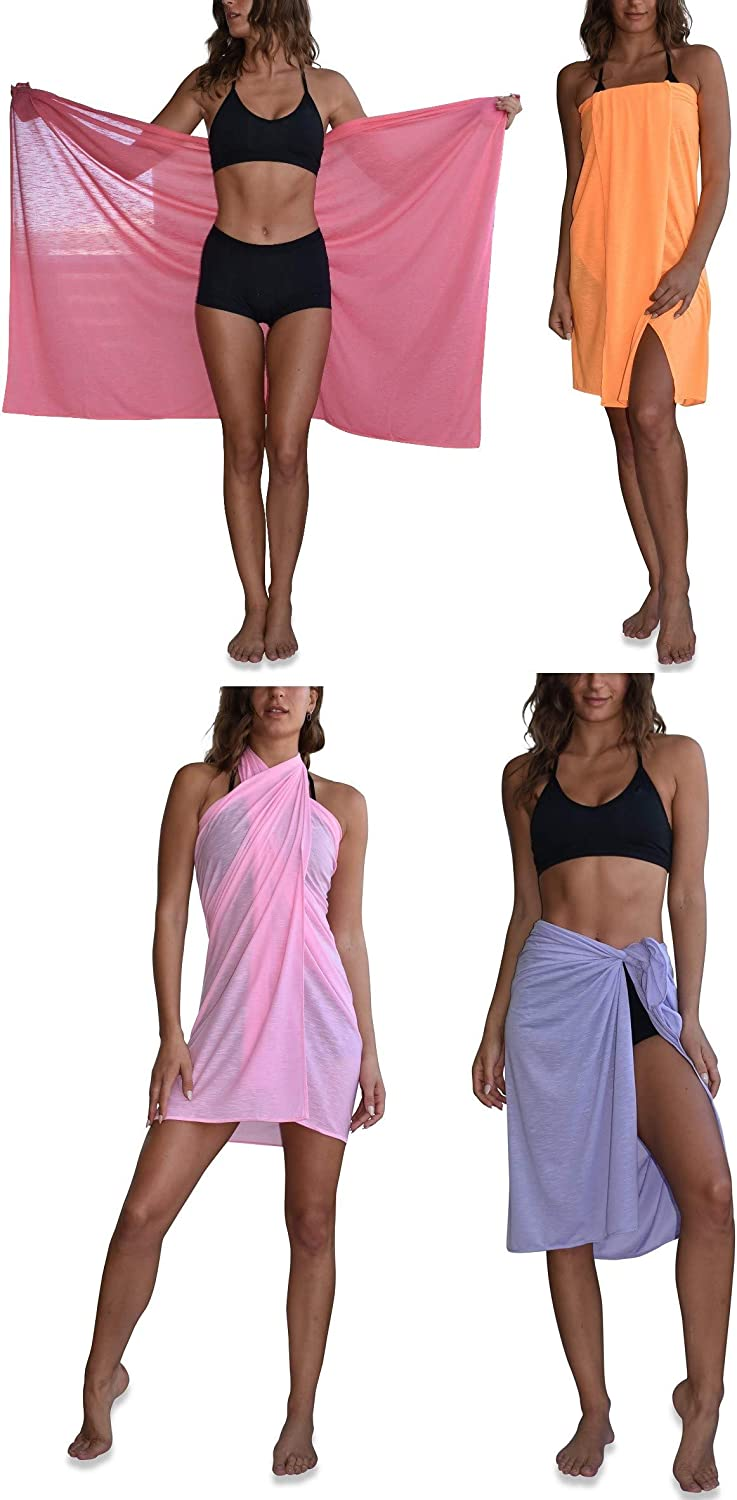 Sexy Basics Womens 4 Pack Soft & Flowy Swimsuit Sarong Wrap Cover Up
