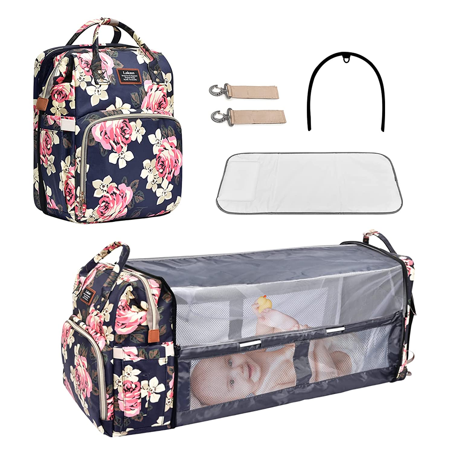 Baby Diaper Bag Backpack Diaper Bag with Changing Station Nappy Bag Backpack with Bassinet Multifunction Floral Travel Bag Backpack with Crib for Baby Girl Boy with Stroller Straps Insulation Pockets