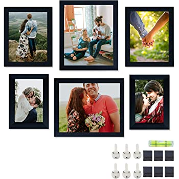 Art Street Set of 6 Individual Black Wall Photo Frames Wall Picture Frame with Free Hanging Accessories ||Mix Size||2 Units 4x6, 2 Units 6X8, 2 Units 8x10 inches||