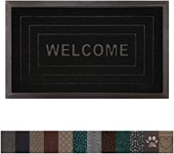 Gorilla Grip Original Durable Rubber Door Mat, 35x23, Heavy Duty Doormat for Indoor Outdoor, Waterproof, Easy Clean, Low-Profile Rug Mats for Winter Snow, Entry, High Traffic Areas, Black Welcome