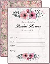 Bridal Shower Invitations with Envelopes   Floral and Vintage Rustic Design   Watercolor Floral Fill-in Style invites   25 Pack 4 x 6 Double Sided Print