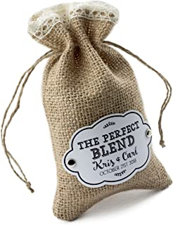 Summer-Ray 24pcs Personalized Burlap Bags with Crochet Lace, Drawstring and Gift Tags Rustic Wedding Favors - The Perfect Blend
