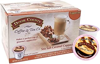 Door County Coffee, Single Serve Cups for Keurig Brewers, Sea Salt Caramel Cappuccino, 12 Count