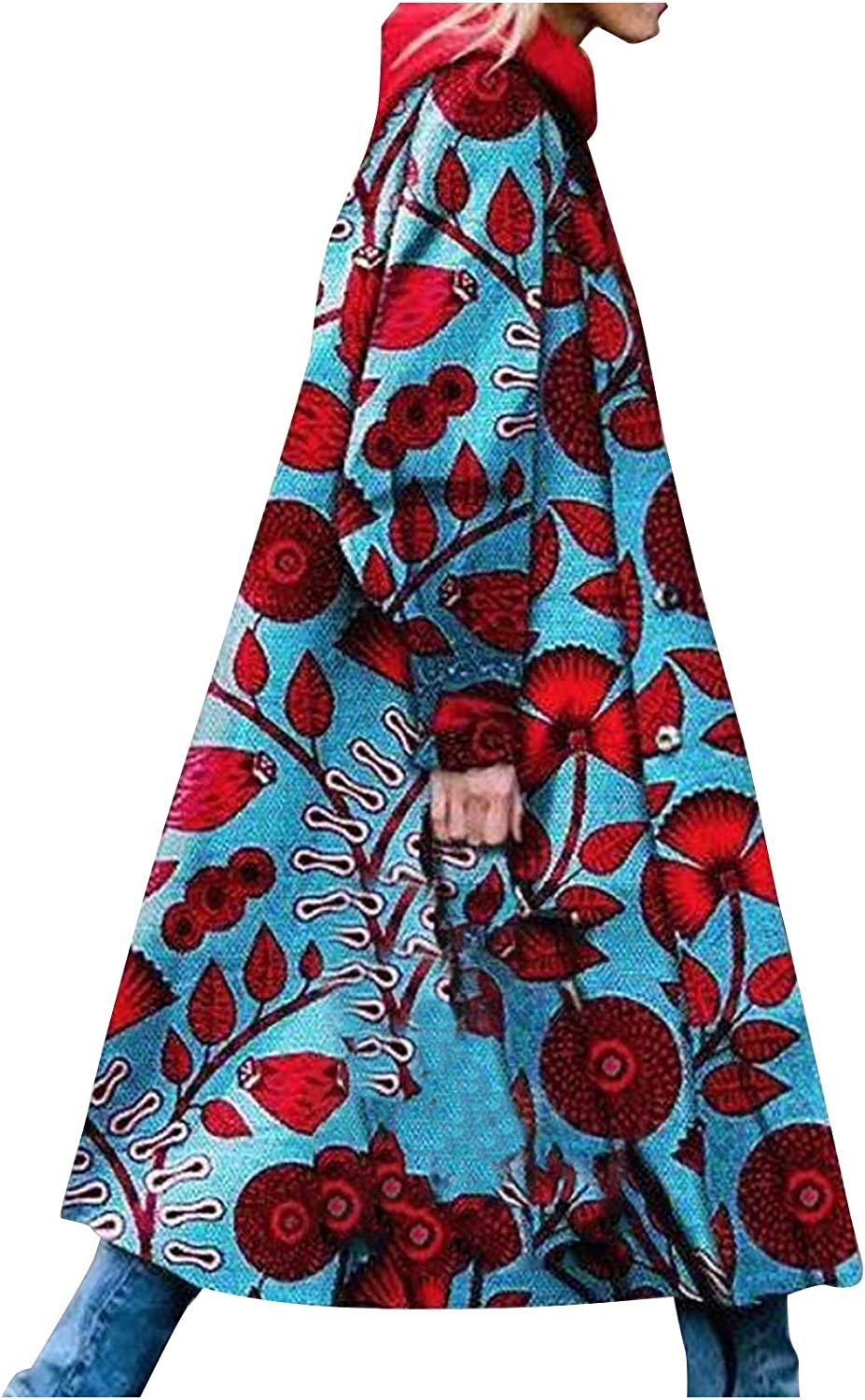 Forwelly Womens Long Trenchcoat Fashion Vintage Print Casual Long Sleeve Hooded Coat Winter Fall Jacket Outwear