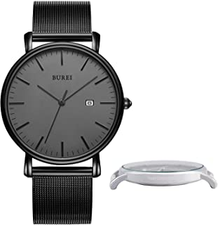 BUREI Personalized Men Watch Text Customization DIY Slim Quartz Wrist Watch and Stainless Steel Mesh Band Especial Gift for Loved Ones