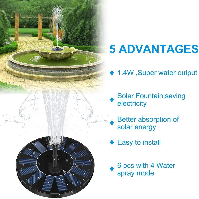 LIUMY Solar Fuente Bomba, 1.4W Fuente Solar Jardín Solar Panel Flotador Fuente,Kit de Bomba Sumergible para el Aire Libre Baño de Aves, Estanque, Piscina, Patio, decoración de jardín: Amazon.es: Jardín