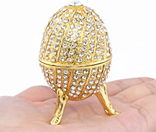 Handmade Unique Gift Gold Plated Faberge Egg Decoration Box Trinket Box Easter Egg Gift Home Decor