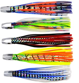 kmucutie 5 Pieces 8 inch 88g Copper Head Octopus Skirts trolling Lure Marlin Tuna deep sea Fishing Lure