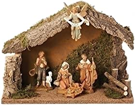 Fontanini 5 Piece Italian Christmas Nativity Set with Wooden Stable 54422 Italy