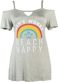 Curvy Couture Women's Plus Size Beach Happy Cold Shoulder Sleep Shirt