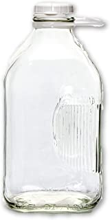 2 Qt Heavy Glass Milk Bottle with Handle & Cap, 64 Oz, 1/2 Gal.