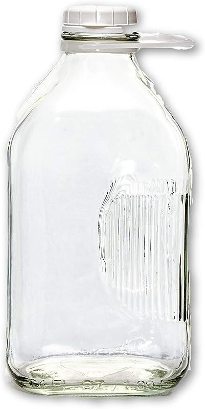 The Dairy Shoppe Glass Milk Bottle 2 Quart 64 Oz Clear