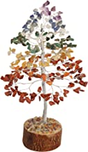 FASHIONZAADI Natural Stone Feng Shui Bonsai Money Tree for Good Luck Chakra Balancing Crystal Gemstone Energy Decor Home Gift Size -10 Inch (Seven Chakra Silver Wire)
