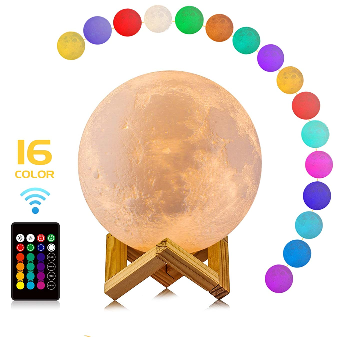 Moon Lamp, LOGROTATE 16 Colors LED 3D Print Moon Light with Stand & Remote&Touch Control and USB Rechargeable, Moon Light Lamps for Kids Lover Birthday Fathers Day Gifts(Diameter 4.8 INCH)