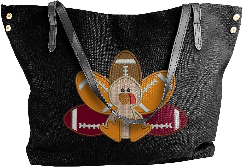 Turkey Pilgrim And Football Women'S Recreation Canvas Shoulder Bag For Work Big Shopping Bag