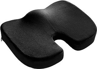 WOLTU Cojín Terapéutico Ortopédico para Coxis de Espuma de Memoria y Dolor de Espalda y Alivio de Dolor de Hueso de la Cola Sciático en Coche, Silla de Oficina y Viaje 45x35x7cm Negro SKN001sz