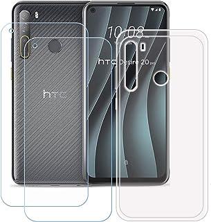 TTJ Transparent omslag för HTC Desire 20 Pro [2 stycken] HD pansarglas, mobiltelefonfodral silikon skyddande lock TPU Case...
