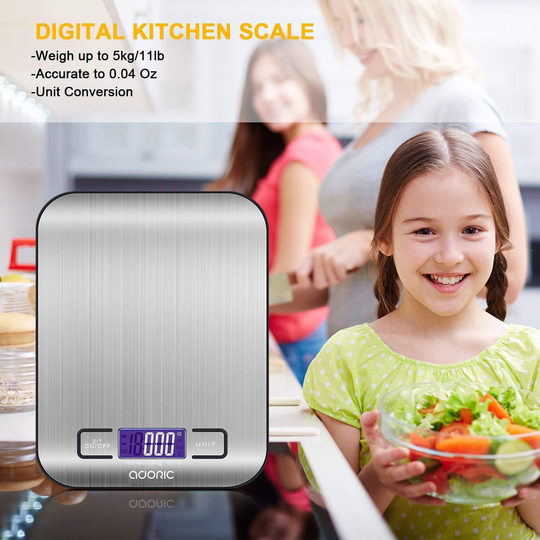 ADORIC Báscula Digital para Cocina de Acero Inoxidable, 5kg / 11 ...